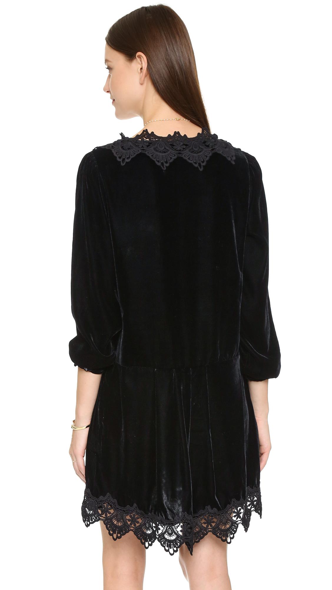 Lyst Free People Premier Velvet Dreams Dress In Black