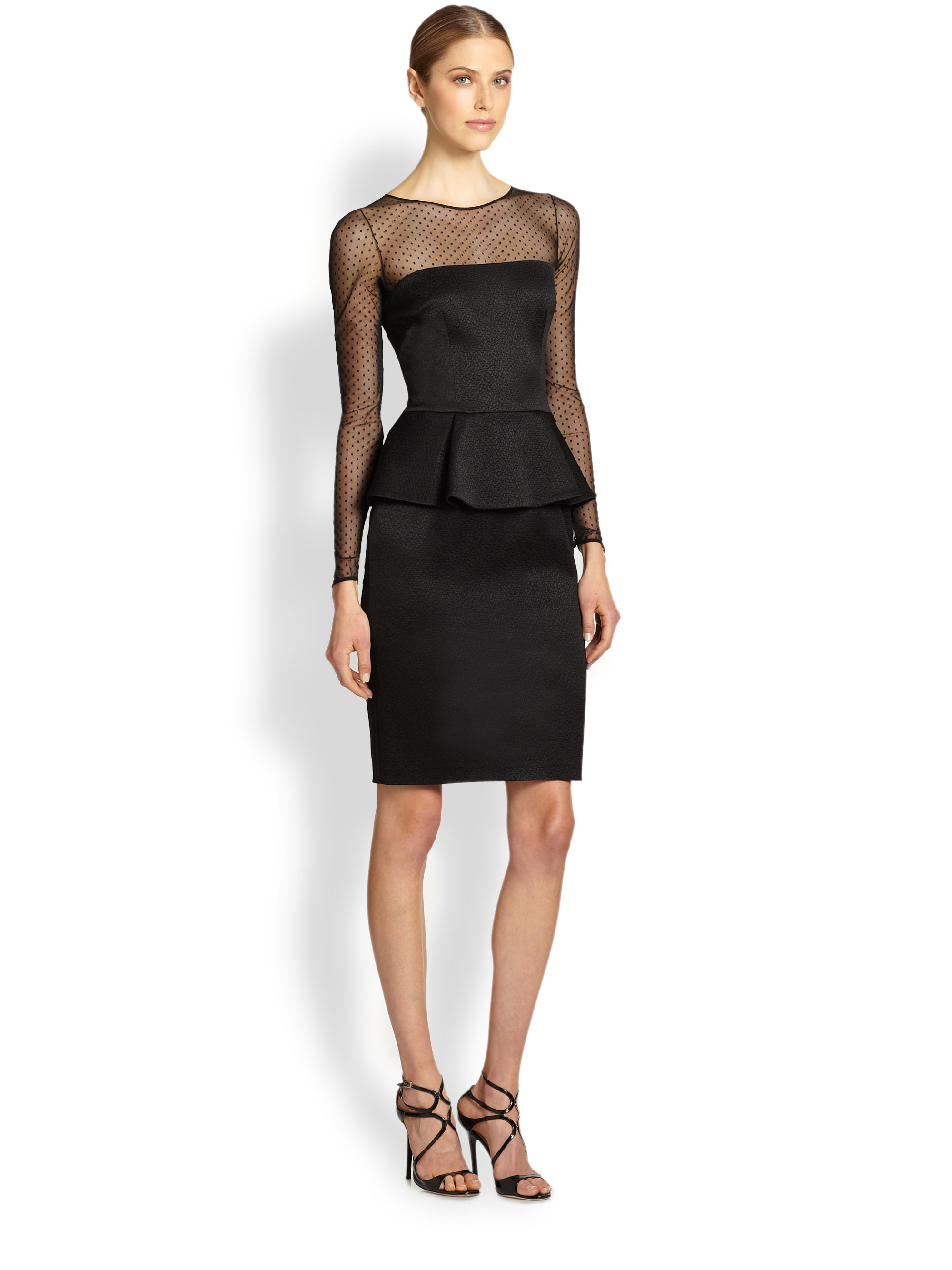 David meister Long-Sleeve Illusion Peplum Dress in Black  Lyst