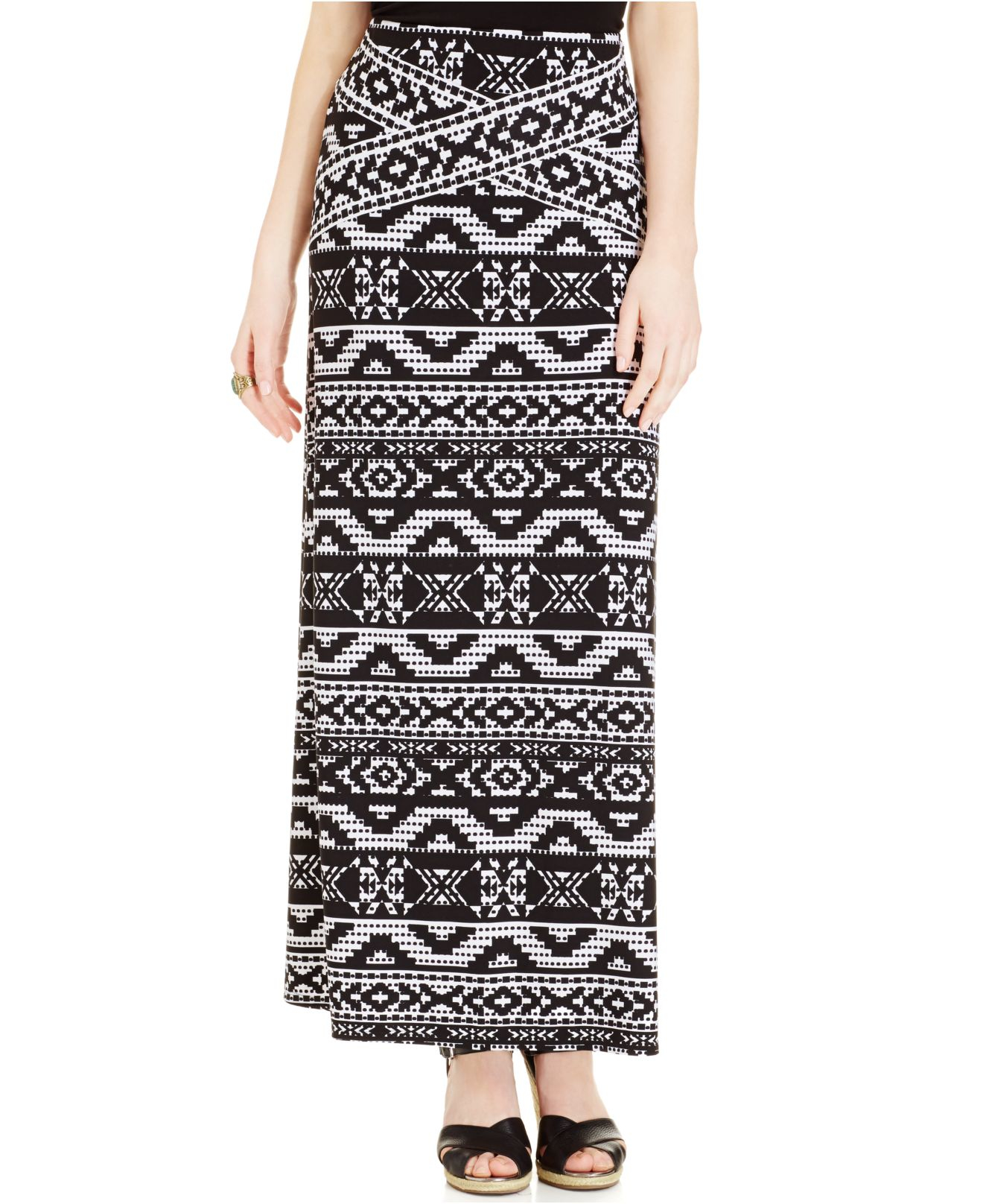 eci geo print maxi skirt in black lyst