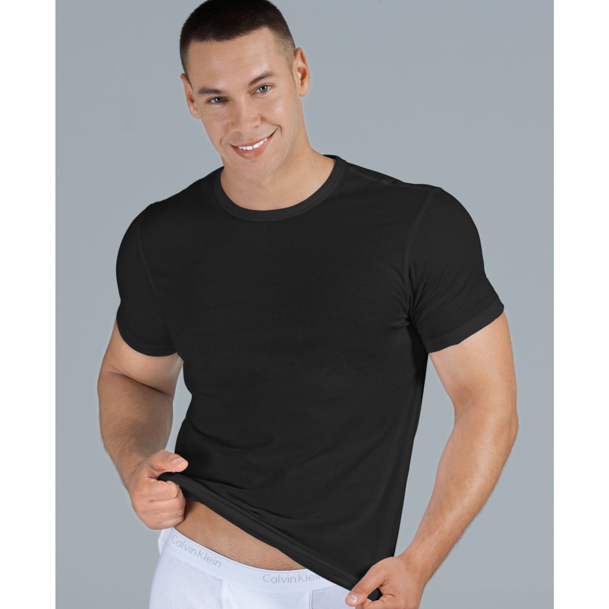 calvin klein body slim fit t shirt 3 pack in black for men. Black Bedroom Furniture Sets. Home Design Ideas