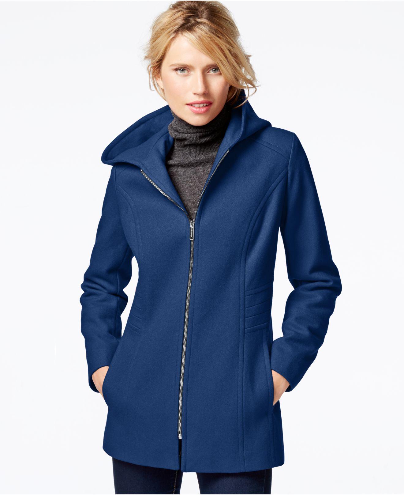 London Fog Hooded Zip Front Coat In Blue Lyst