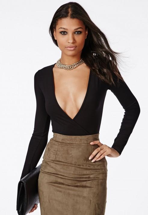 d2f7fe78ff400 Lyst - Missguided Long Sleeve Wrap Over Plunge Bodysuit Black in Black