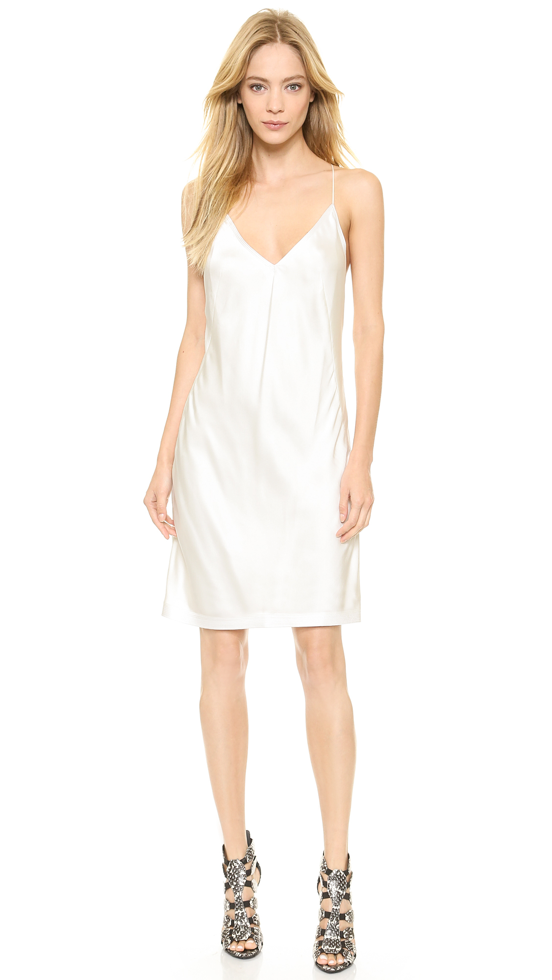 Kaufman franco Silk Slip Dress - Ivory in White  Lyst