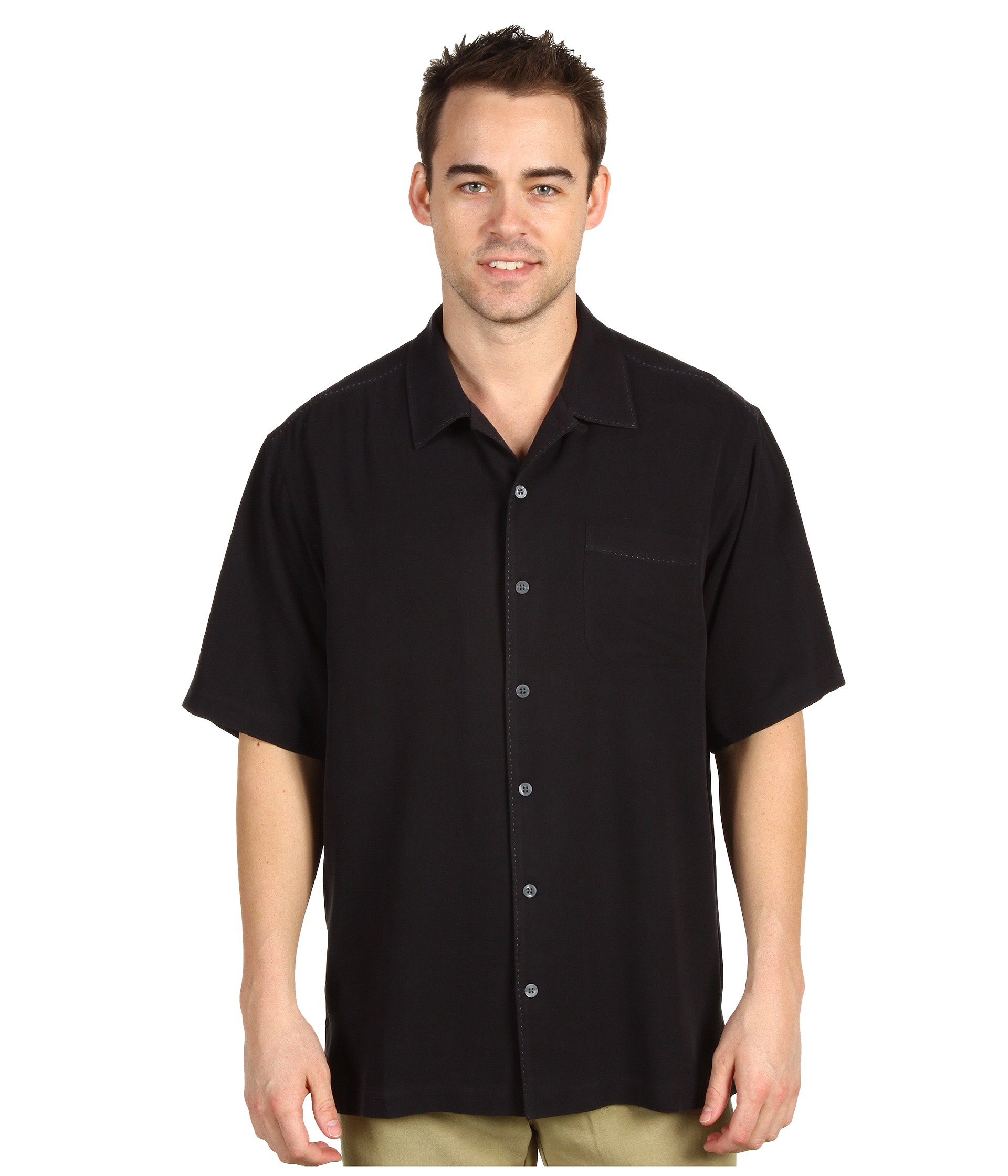 Lyst tommy bahama catalina twill camp shirt in black for men for Tommy bahama catalina twill silk camp shirt
