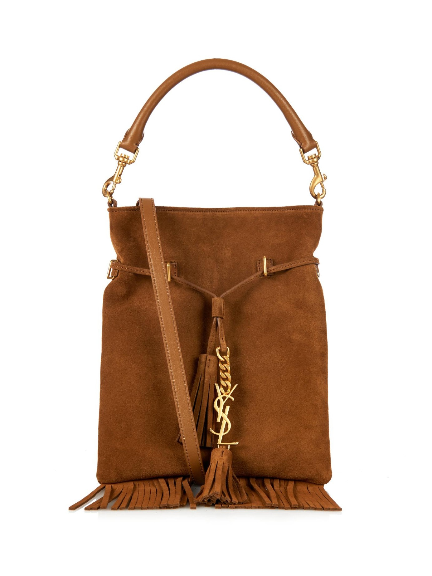 f415b52b52ec Lyst - Saint Laurent Monogram Fringe Suede Bucket Bag in Brown