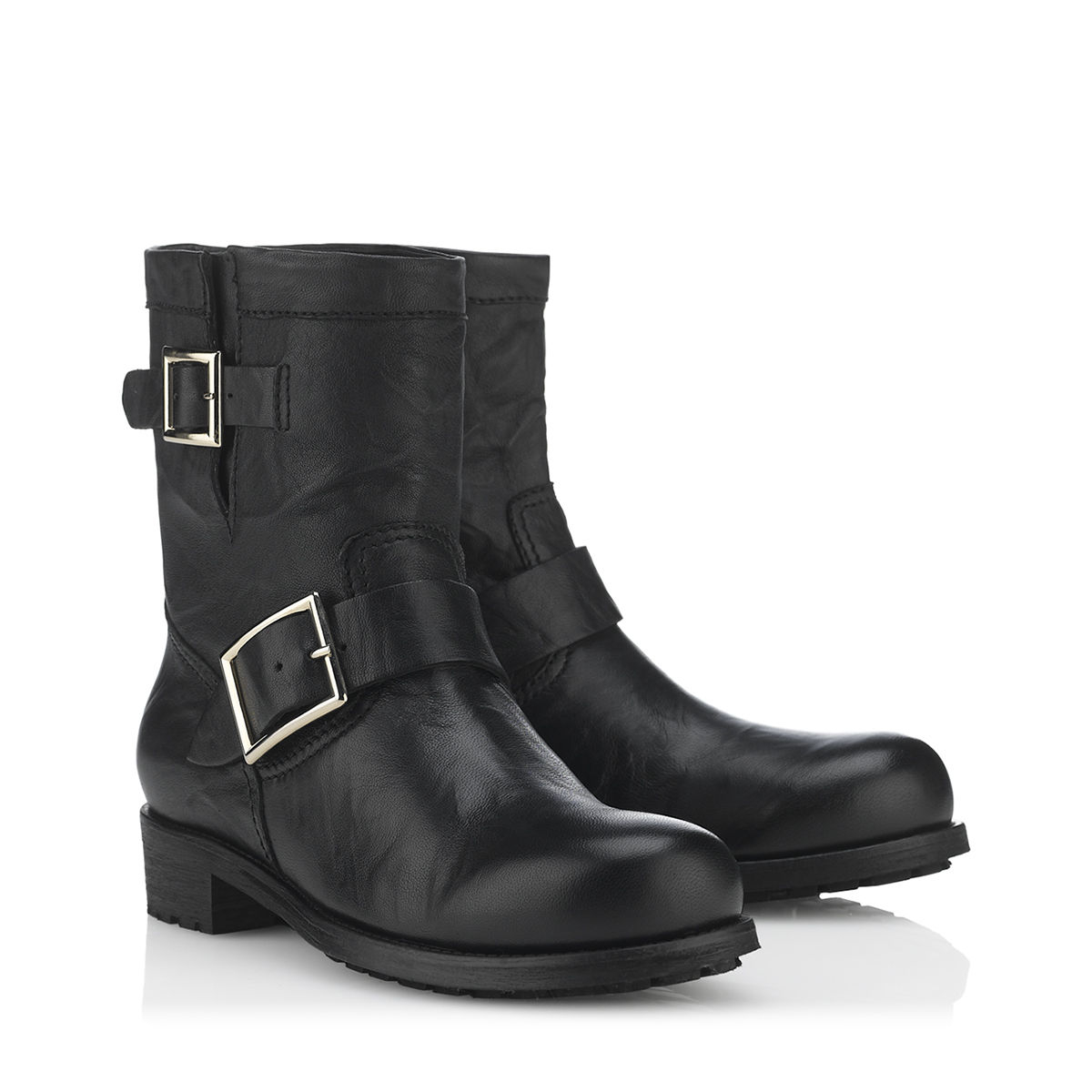 Jimmy choo Youth Furlined Biker Boots in Black | Lyst