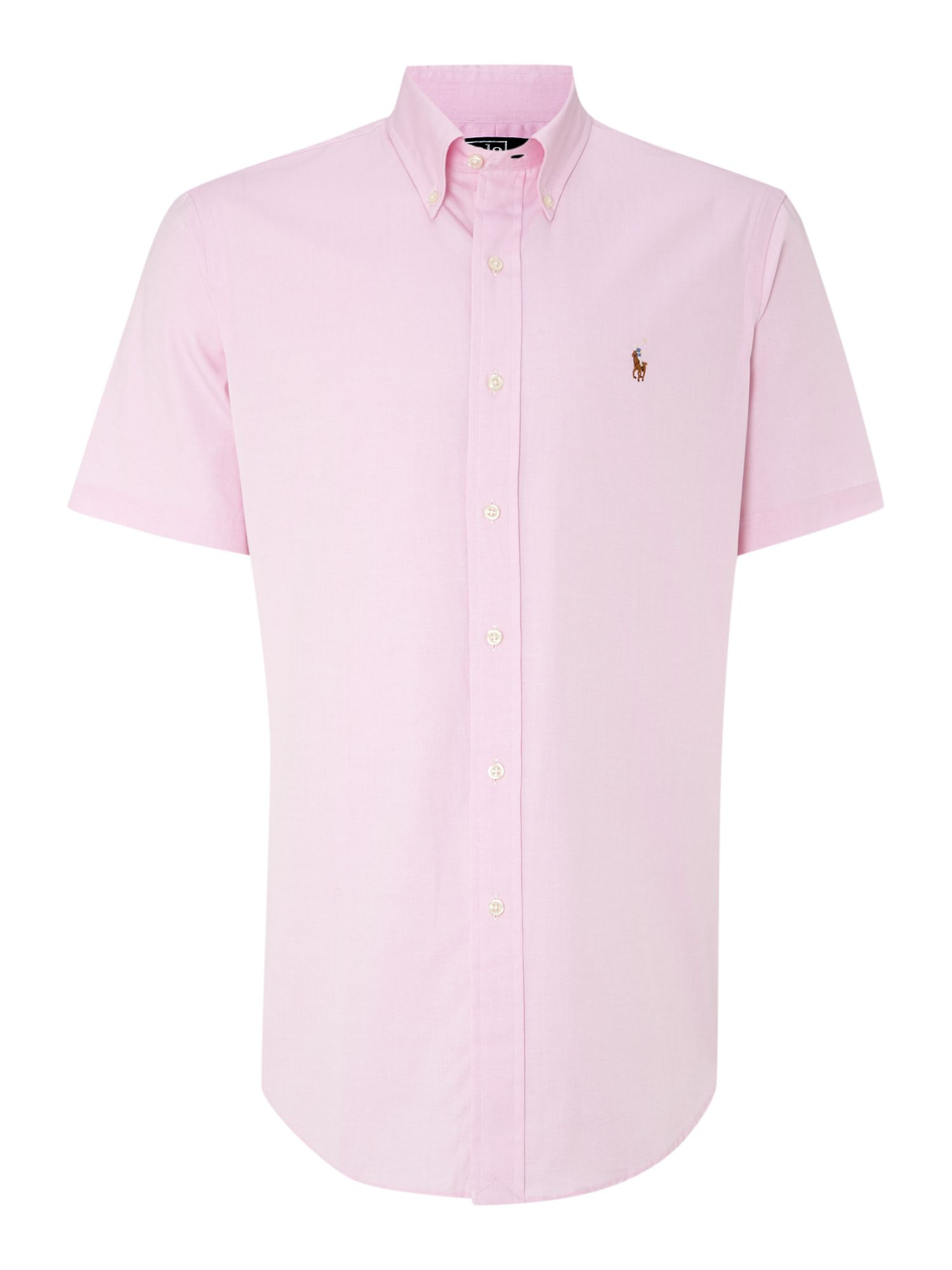 Lyst polo ralph lauren classic short sleeve custom fit for Pink oxford shirt men