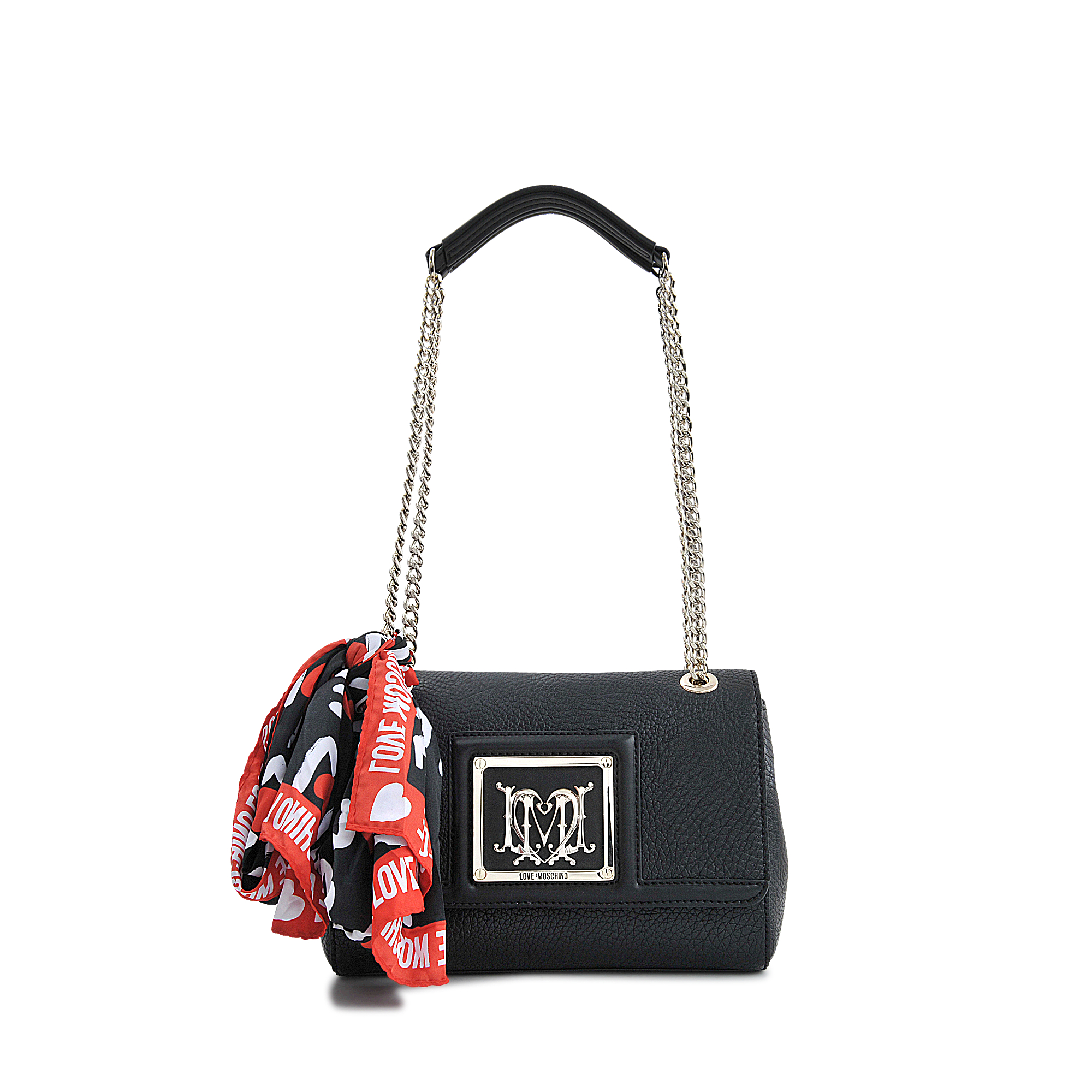 love moschino i love scarf flap bag in black lyst. Black Bedroom Furniture Sets. Home Design Ideas