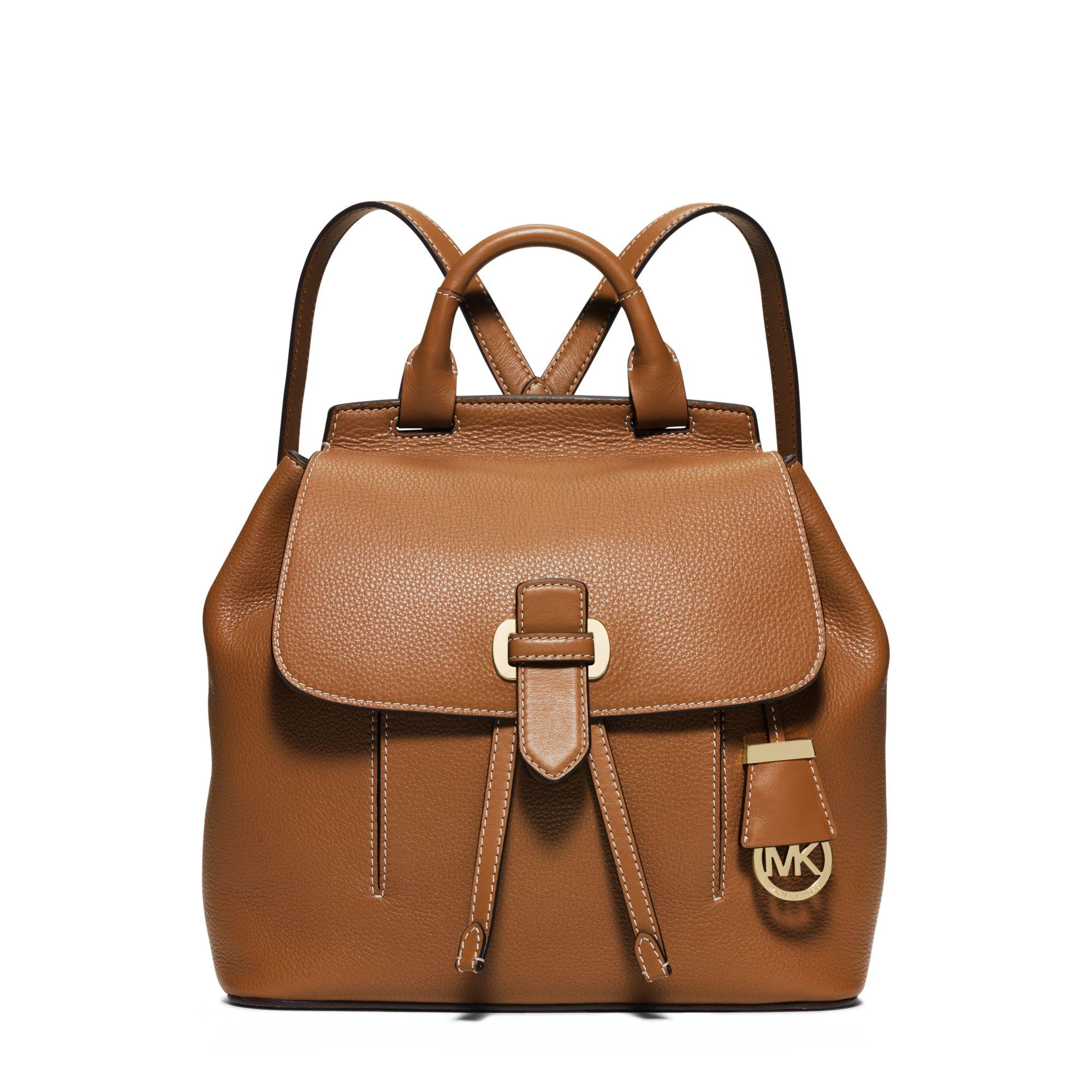 9dfde4e40940 ... buy lyst michael kors romy medium leather backpack in brown 9faf7 fb3aa