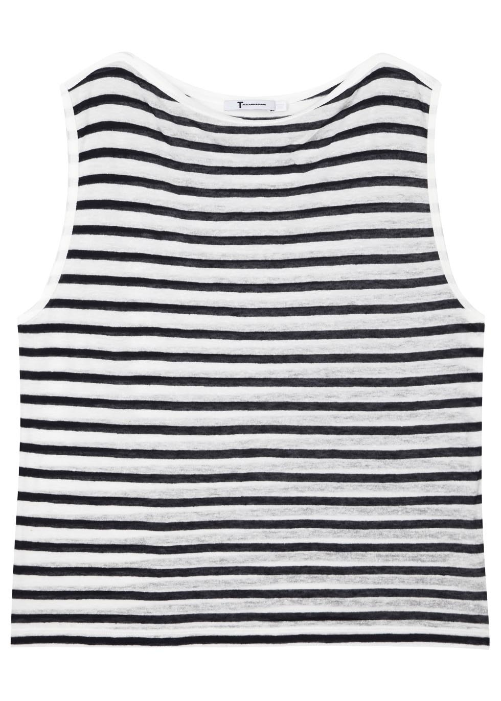 1b2e66ad9bdfb2 T By Alexander Wang Striped Fine Knit Sleeveless Top in Black - Lyst