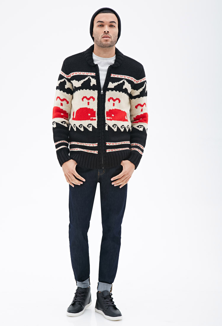 c6c94726 Forever 21 Whale Pattern Shawl Cardigan in Red for Men - Lyst