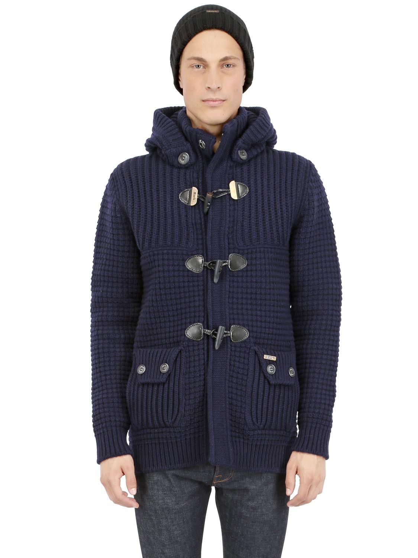 lyst bark wool blend duffle coat in blue for men. Black Bedroom Furniture Sets. Home Design Ideas