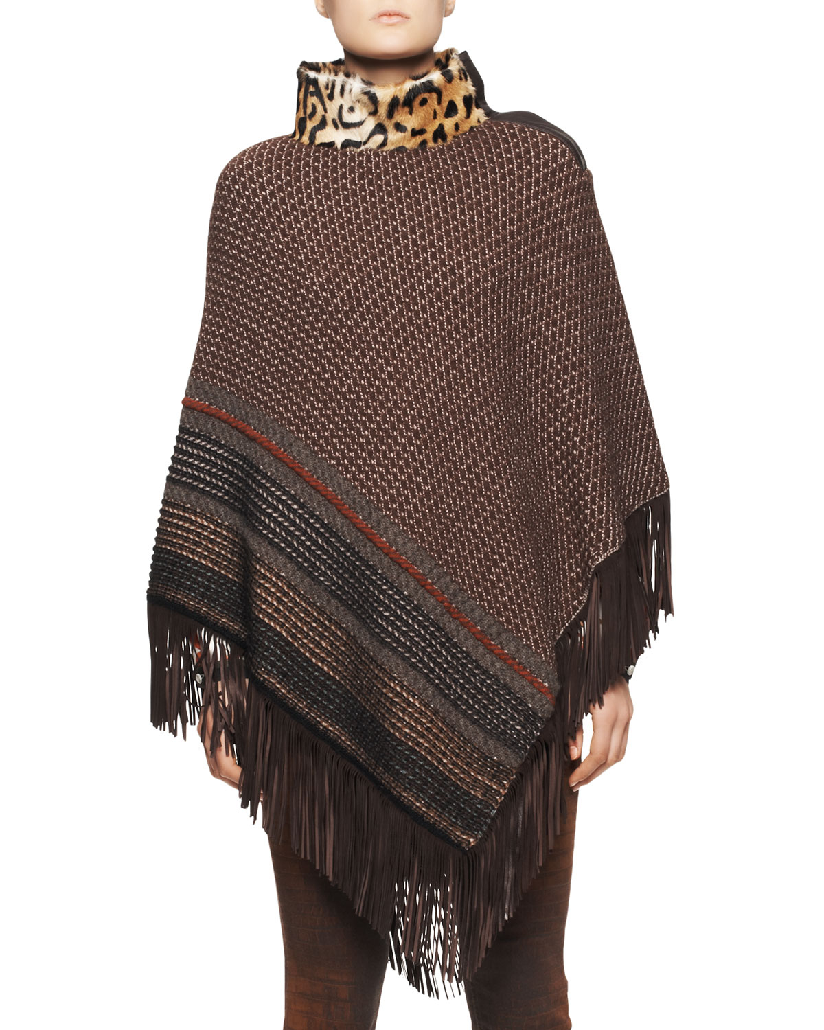 Etro Leopard-Collar Poncho With Fringe Hem in Brown (ONE ...