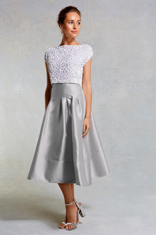 Lyst - Coast Ruena Midi Texture Skirt In Gray
