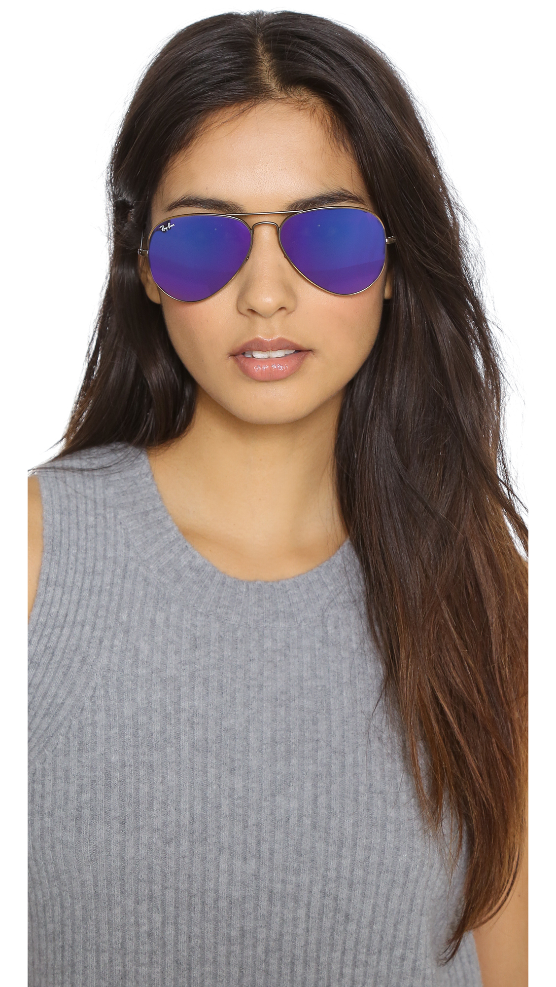 Lyst Ray Ban Mirrored Aviator Sunglasses Bronze Purple