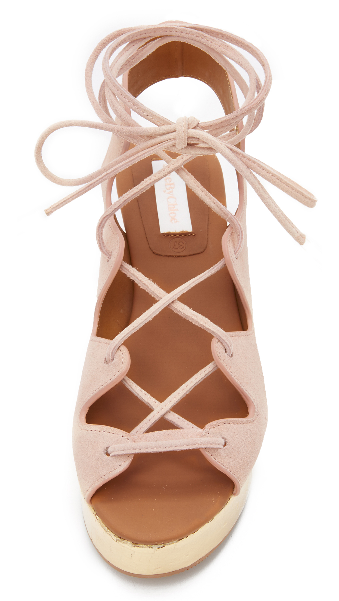7c07aa73f03 Lyst - See By Chloé Liana Platform Lace Up Sandals in Natural