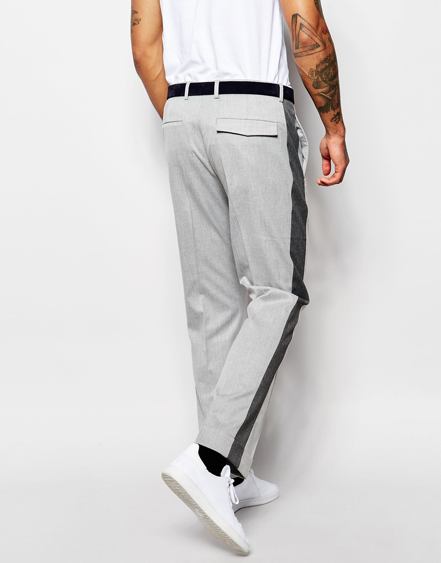 Asos Wide Leg Trousers With Side Stripe In Gray For Men Lyst