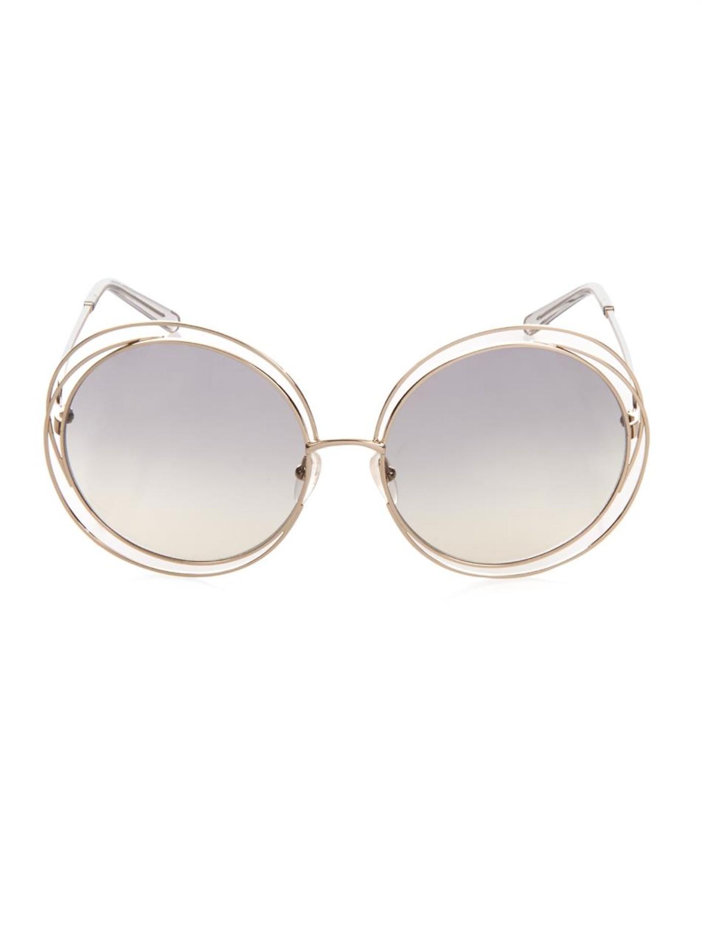 7e874b8de11 Lyst - Chloé Carlina Round-Framed Sunglasses in Metallic