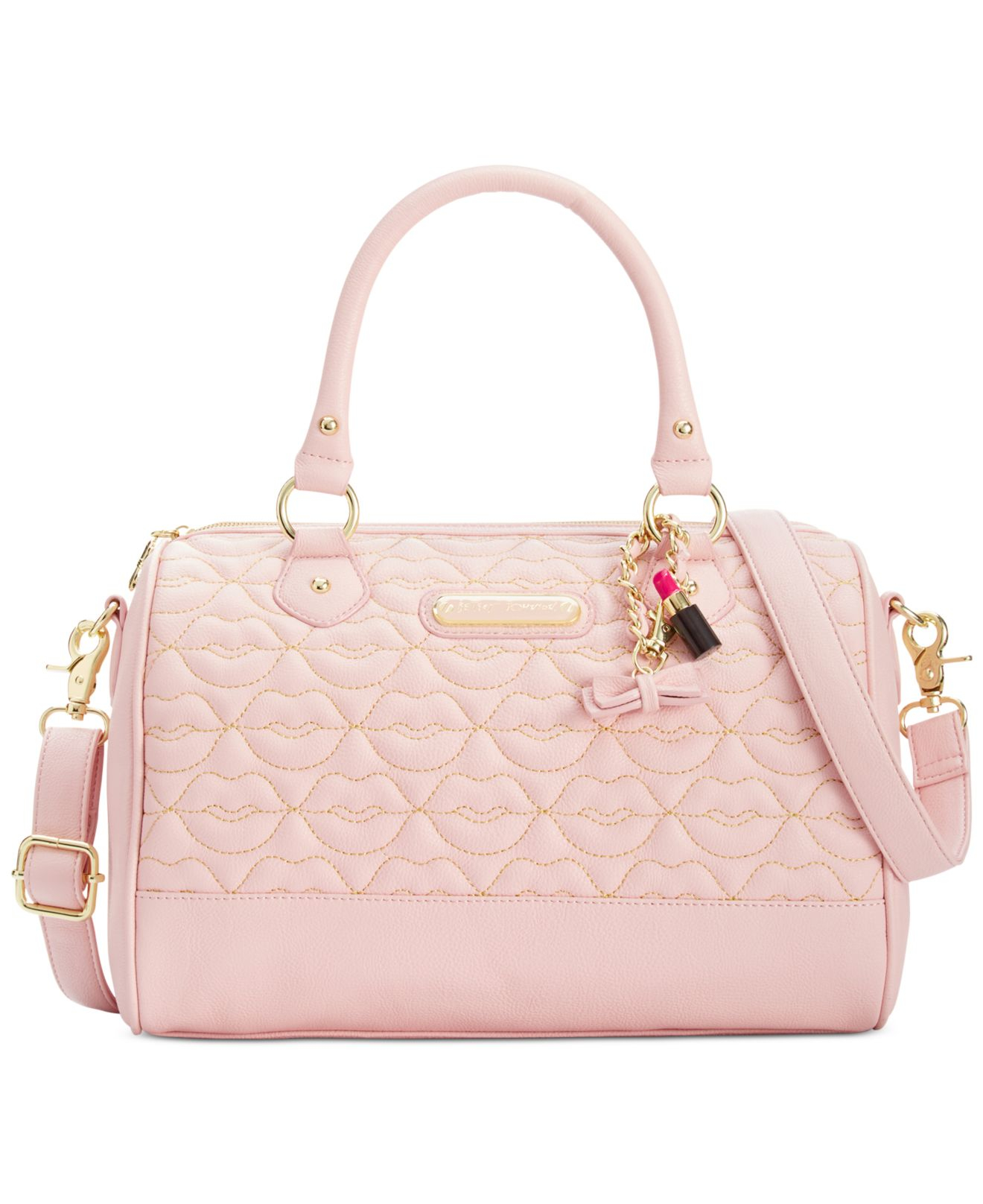 4ab6e660b1 Lyst - Betsey Johnson Blush Quilted Lips Satchel in Pink