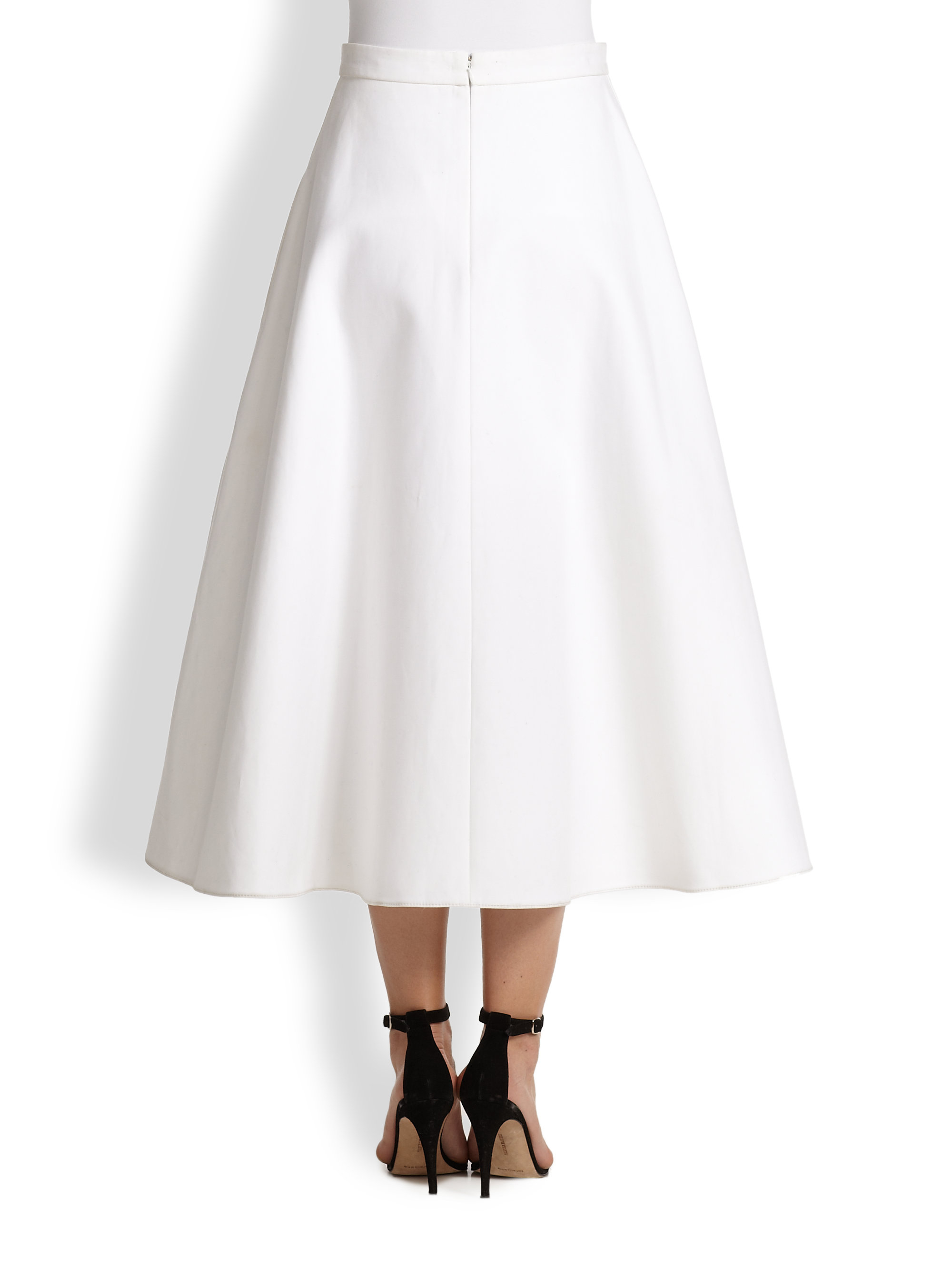Carven Buttonfront Cotton Aline Skirt in White | Lyst
