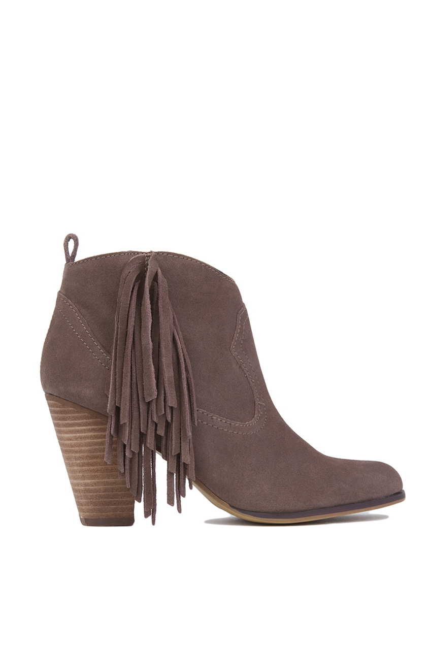 Steve madden Ohio Side Fringe Ankle Boots in Brown | Lyst
