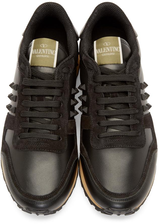 Black leather sneakers Valentino d7RgJKo