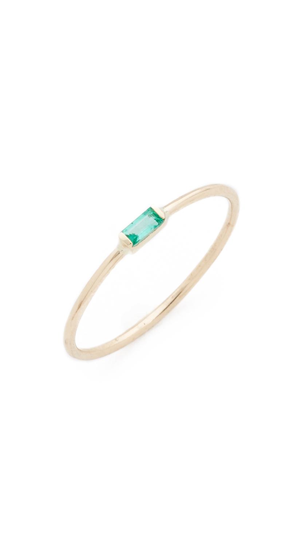 Best Lyst - Zoe Chicco Small Horizontal Emerald Baguette Ring in Metallic QR25