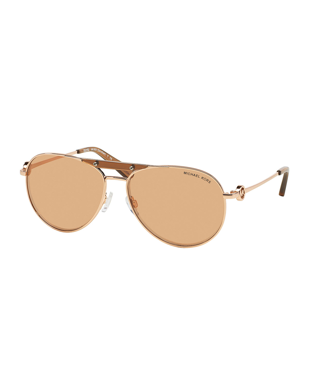 0d5d88c10b5eb Lyst - Michael Kors Zanzibar Flash-lens Aviator Sunglasses in Metallic