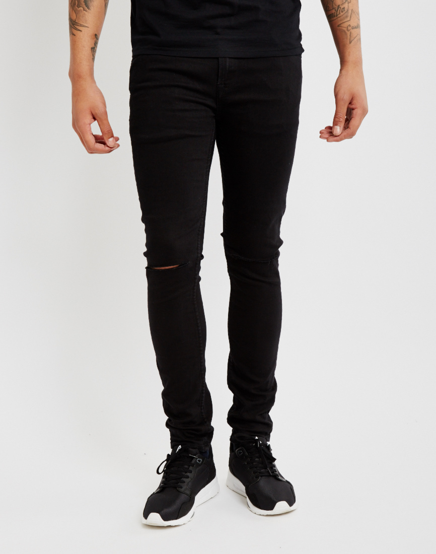 Only u0026 sons Mens Skinny Fit Jeans With Cut Knees Black in Black for Men | Lyst