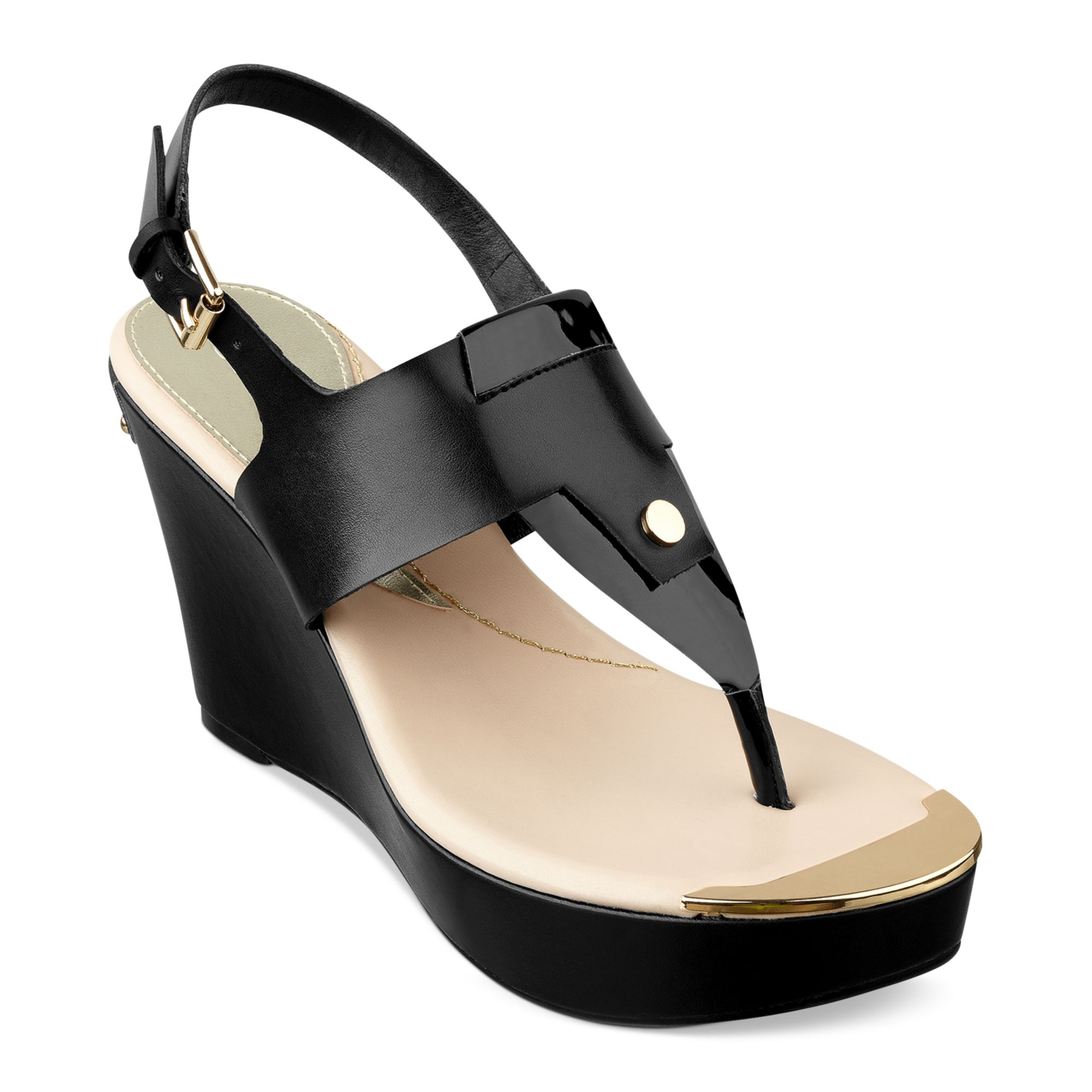 Lyst Guess Magli Platform Wedge Thong Sandals In Black