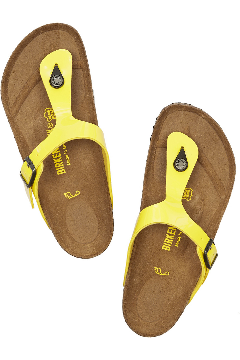 83470925bd8d Lyst - Birkenstock Gizeh Faux Patent-Leather Slides in Yellow