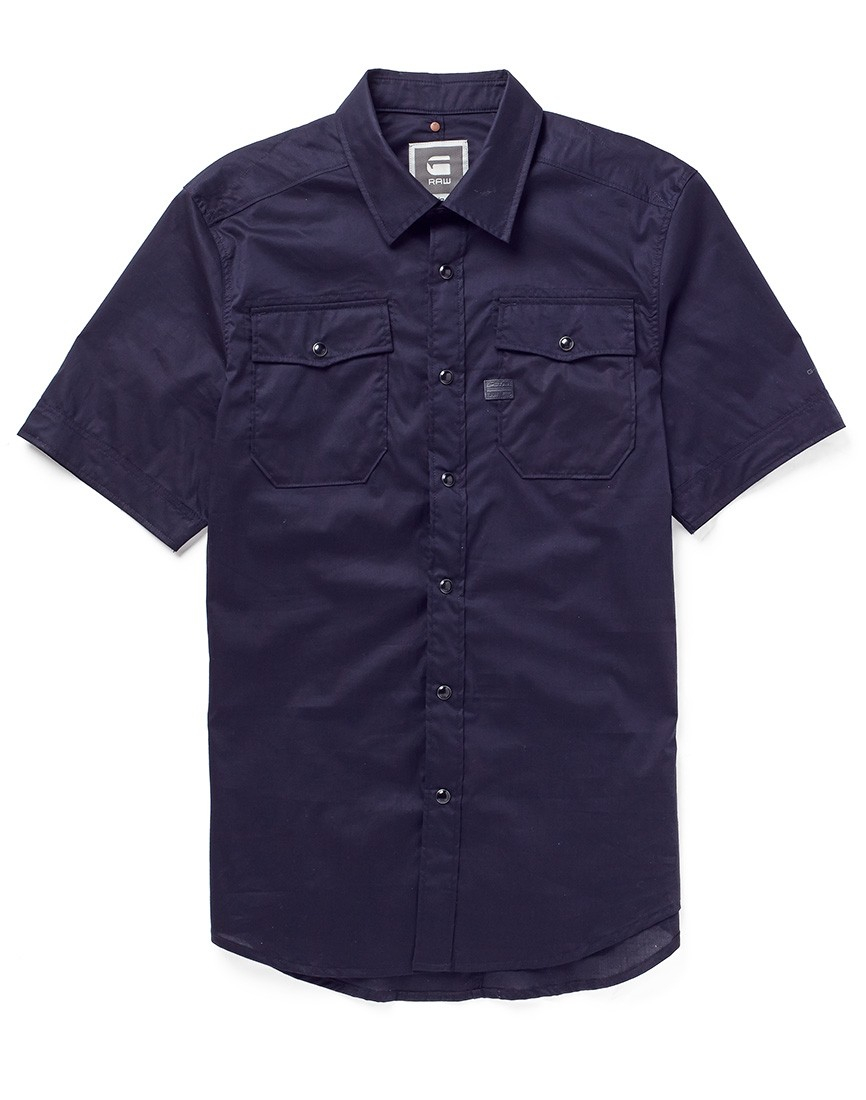 g star raw g star landoh shirt with short sleeves in blue for men lyst. Black Bedroom Furniture Sets. Home Design Ideas
