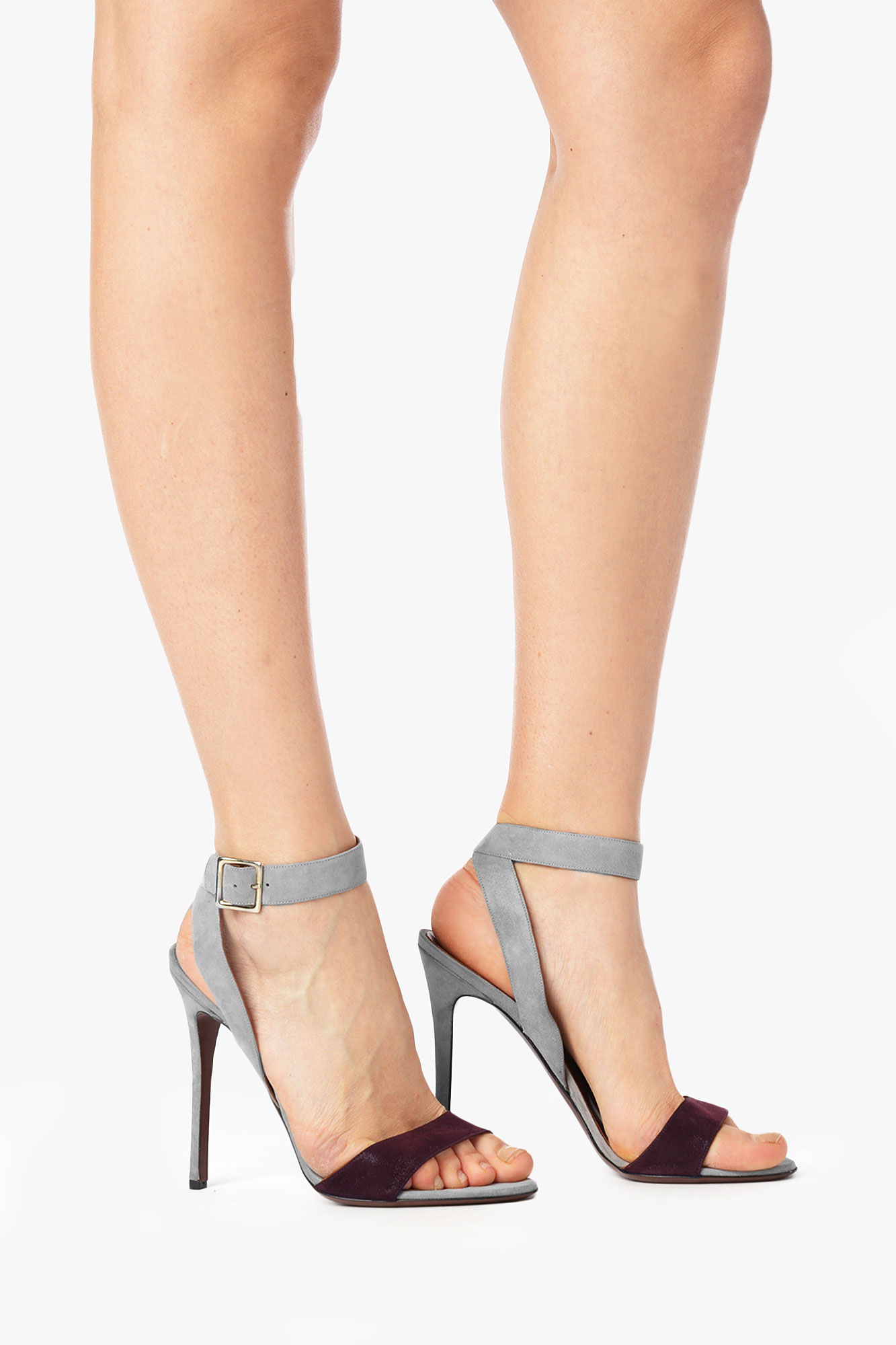 7 for all mankind Mitzy Ankle Strap Heel in Gray | Lyst