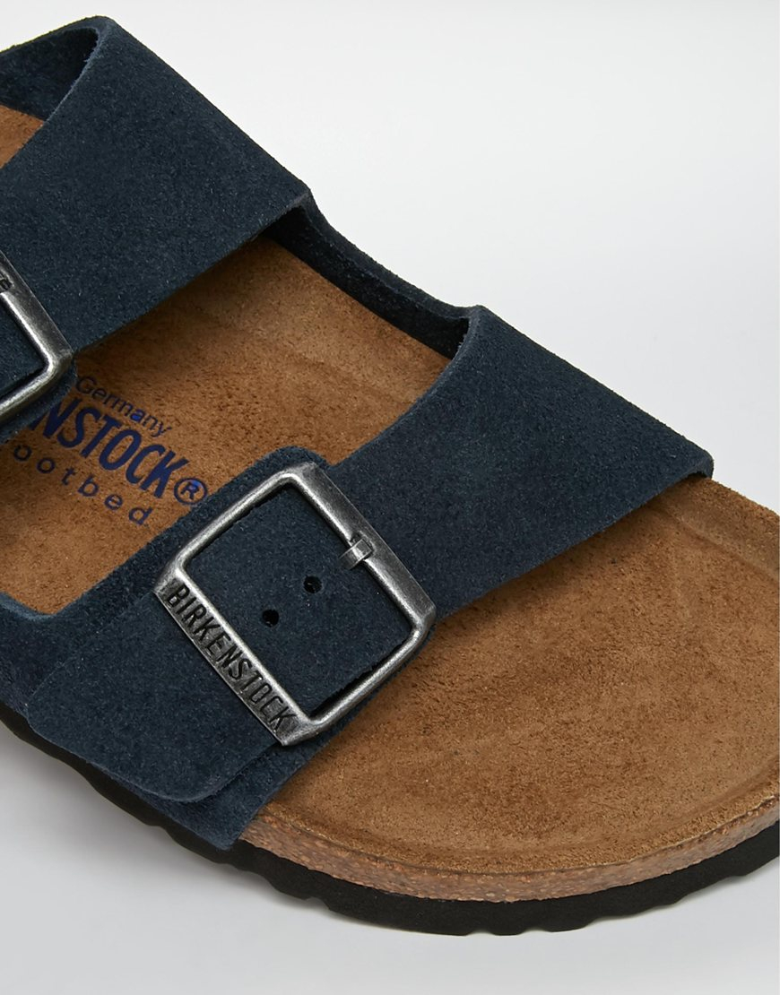 d8900602d3f4ad Lyst - Birkenstock Arizona Navy Suede Leather Flat Sandals in Blue