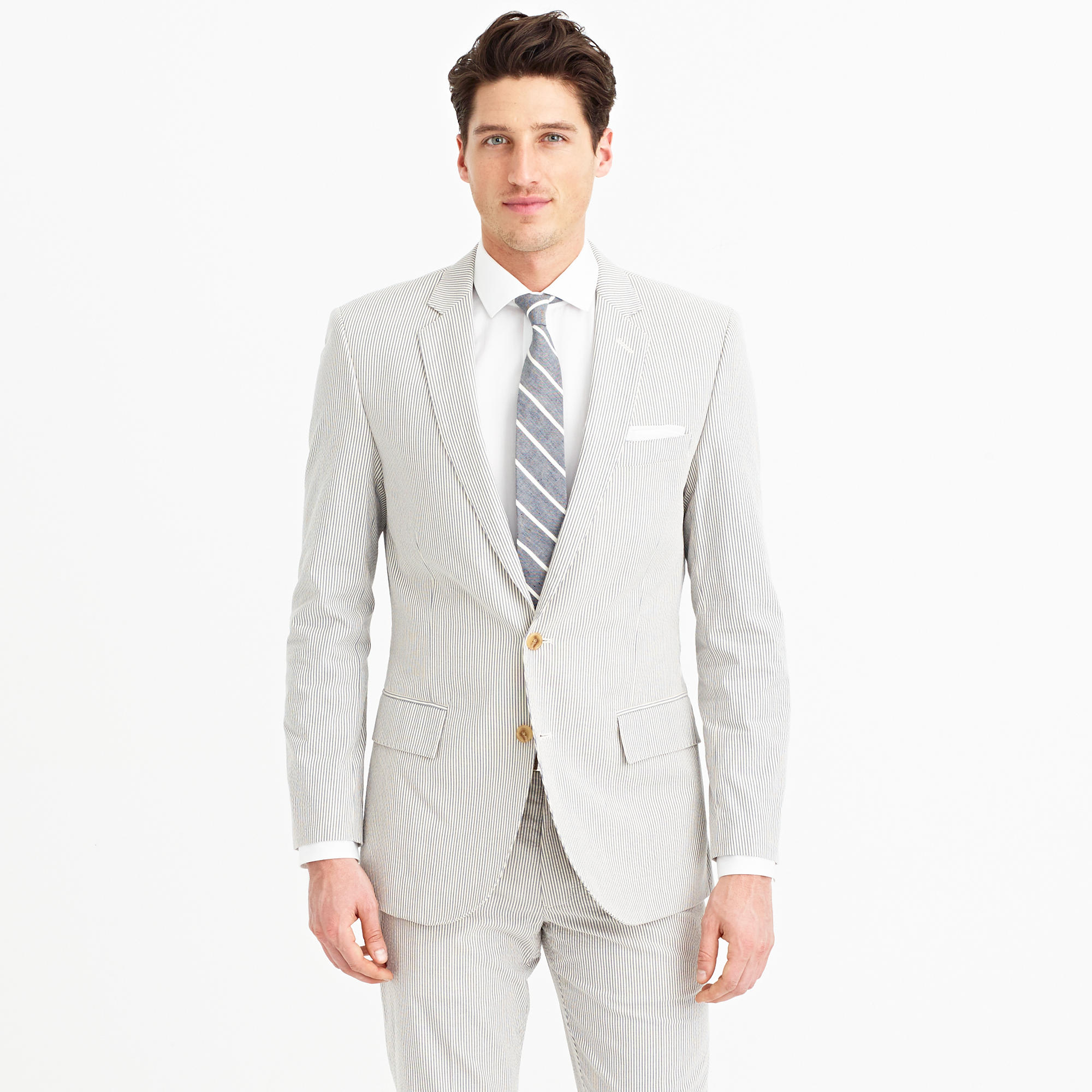 Crew gray ludlow suit jacket in japanese seersucker for men lyst