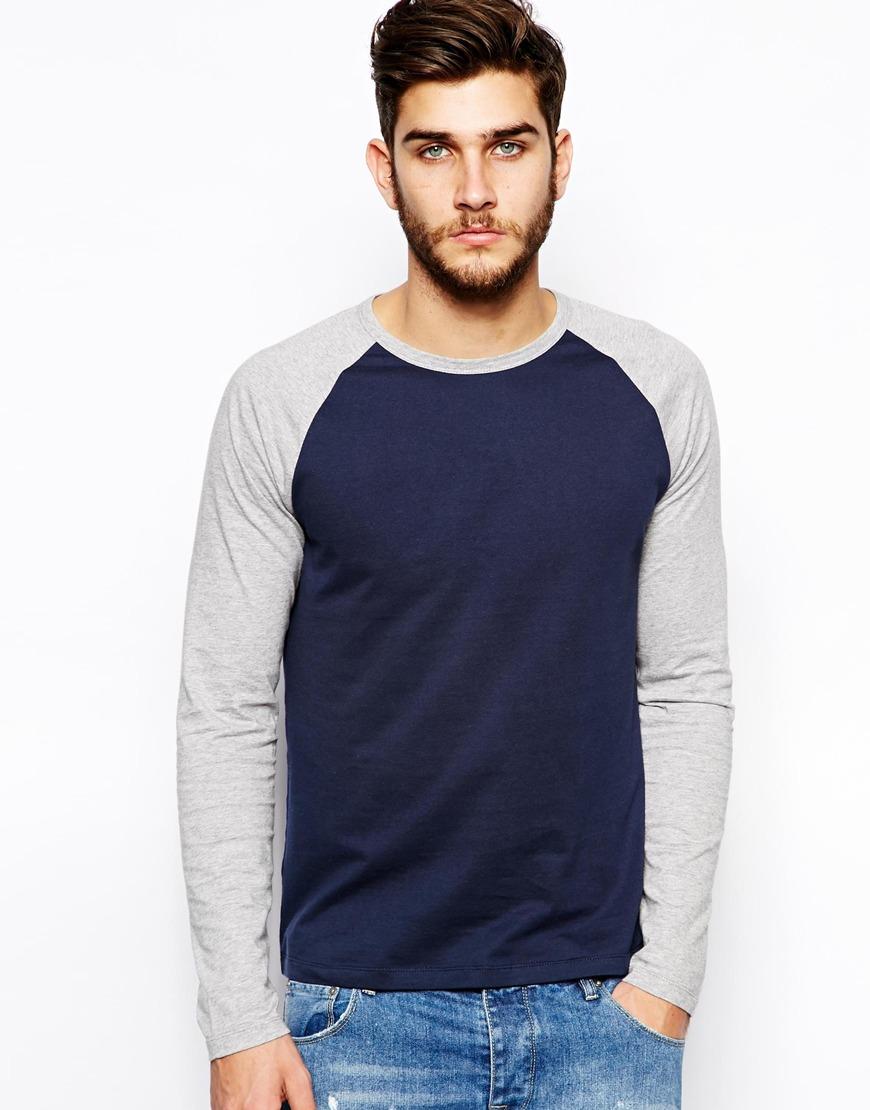Lyst Asos Long Sleeve T Shirt With Contrast Raglan