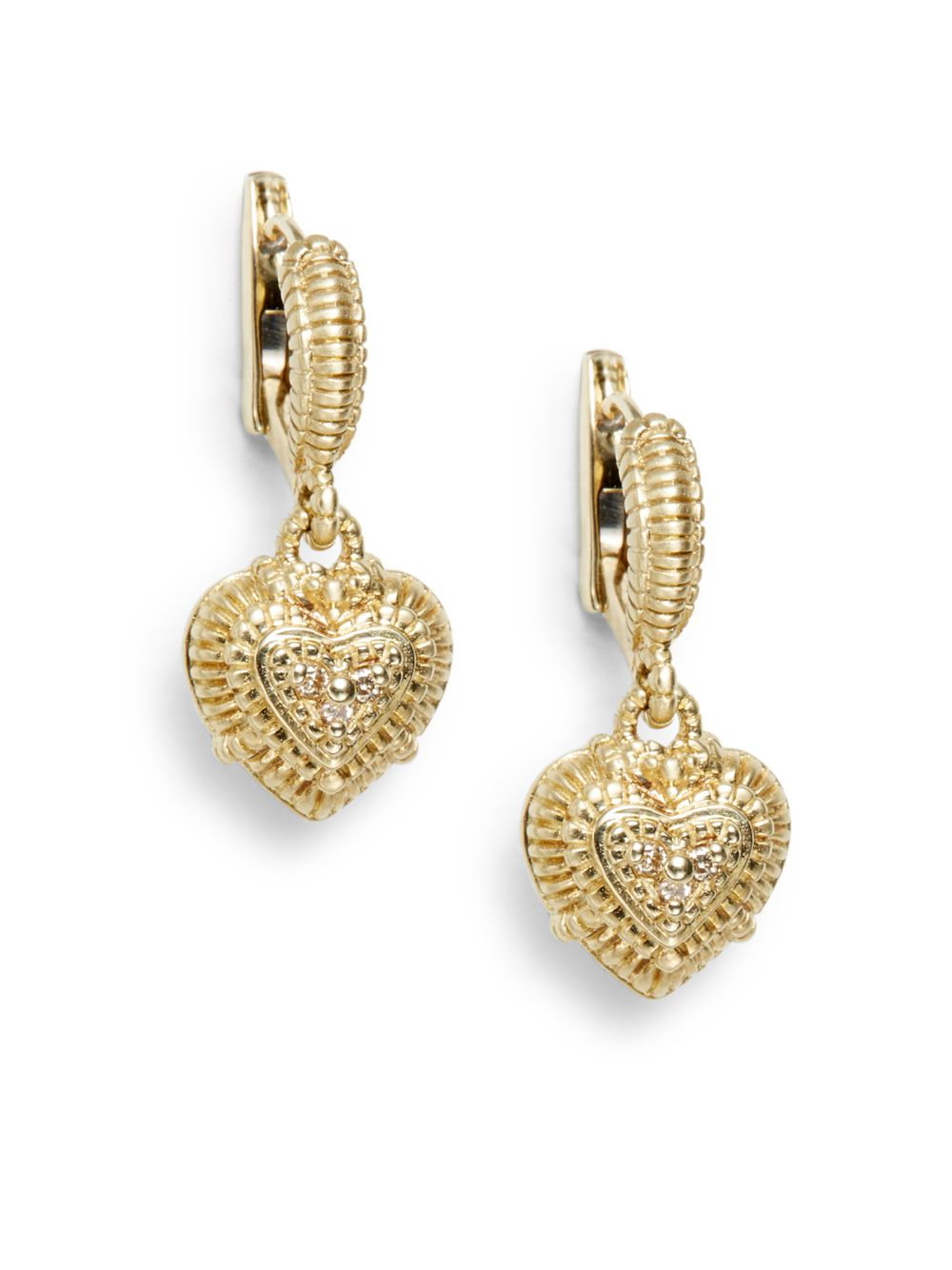 1d0e6a671 Judith Ripka Diamond 14k Yellow Gold Heart Drop Earrings in Metallic ...