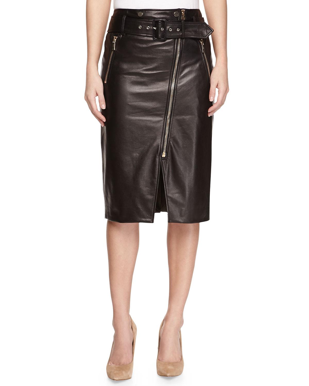 jason wu moto leather pencil skirt in black lyst