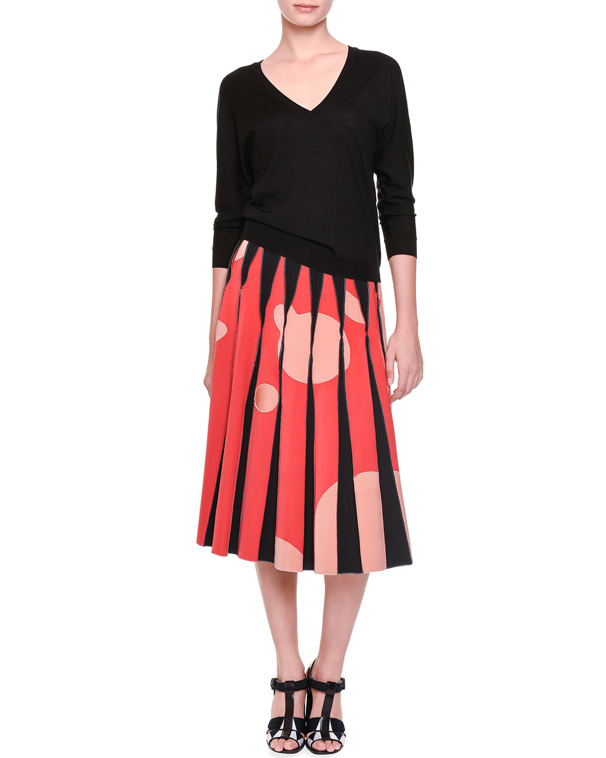 dea3b3e96e43 Bottega veneta Inverted-pleat Bubble-print Midi Skirt in .