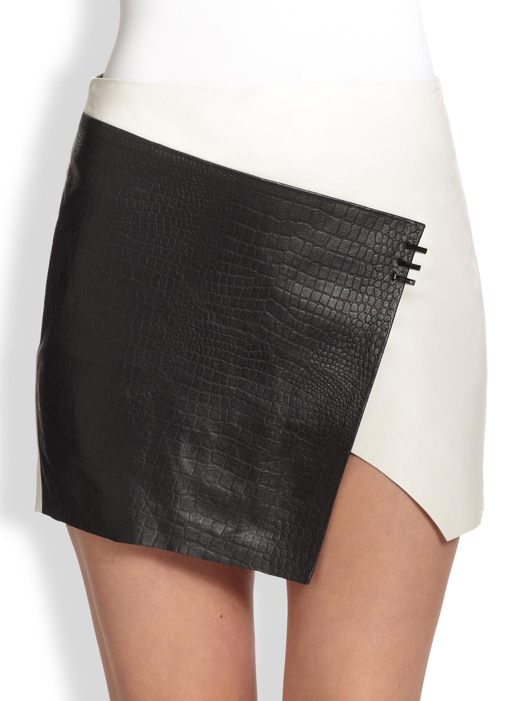 Bec & bridge Babylon Twotone Asymmetrical Leather Wrapeffect Skirt ...