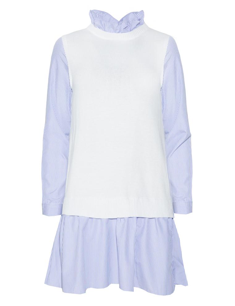 Pixie Market Stripe Vest Shirt Dress In White Lyst
