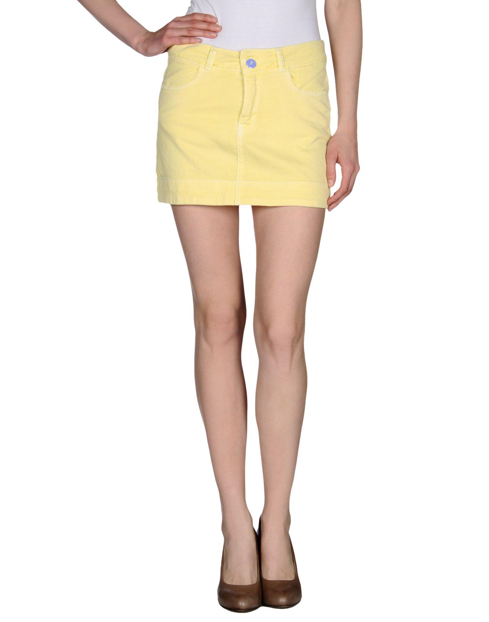 set denim skirt in yellow light yellow lyst