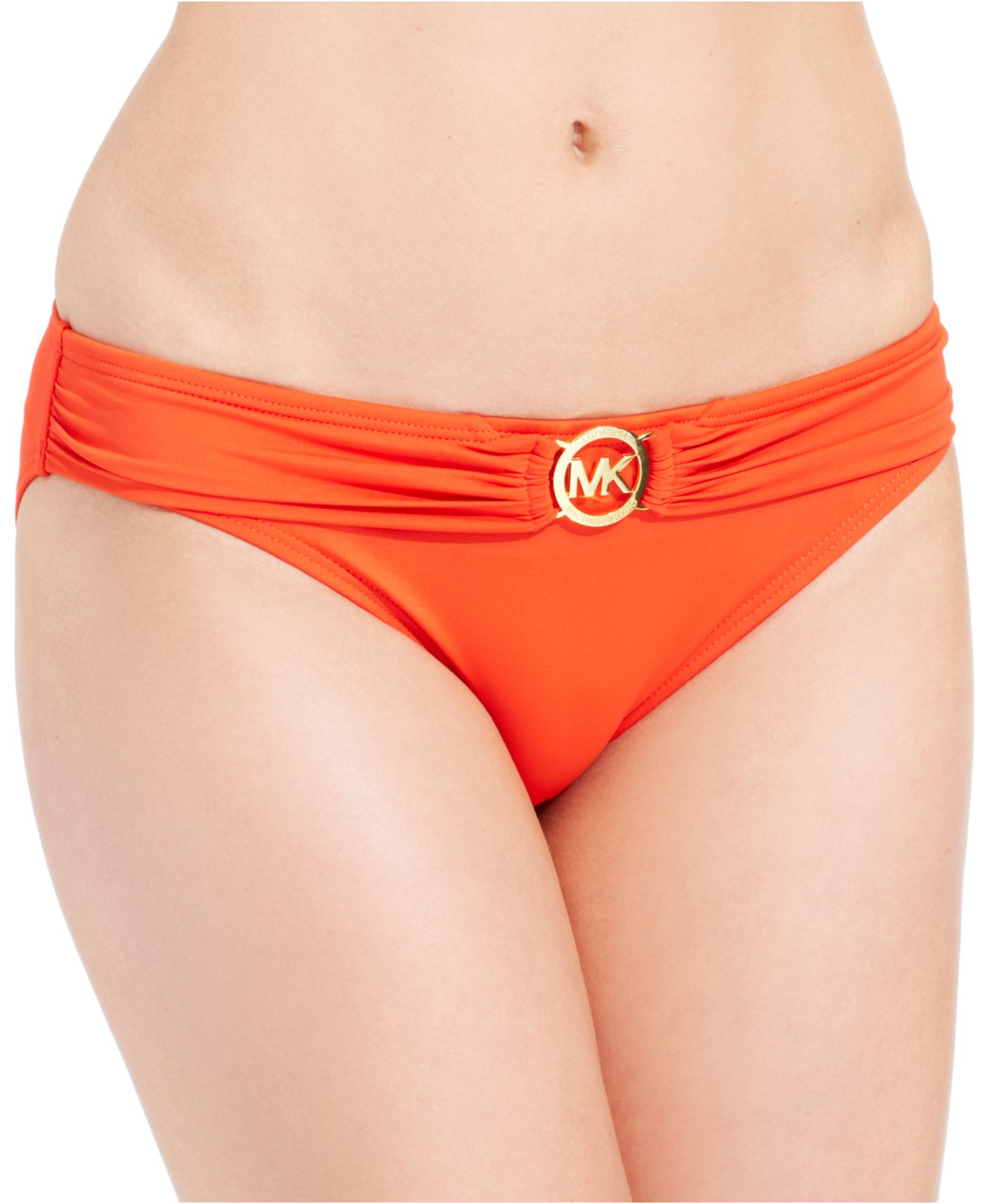 ba9779ebfb3d5 Lyst - Michael Kors Michael Solid Logo Bikini Bottom in Orange