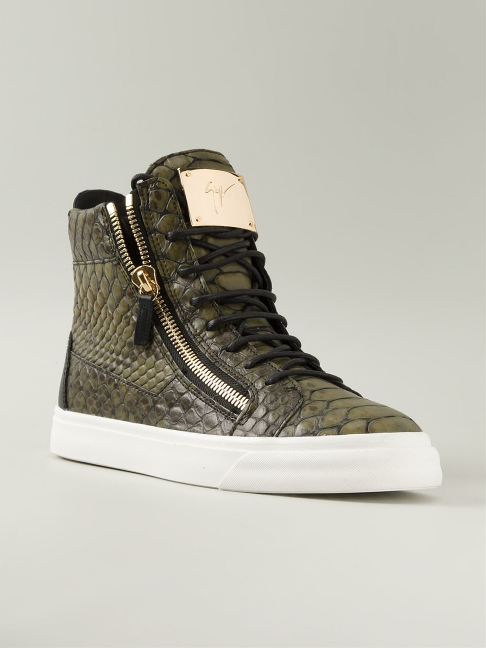 739abf274392 Lyst - Giuseppe Zanotti Croc-Embossed Leather High-Top Sneakers in ...