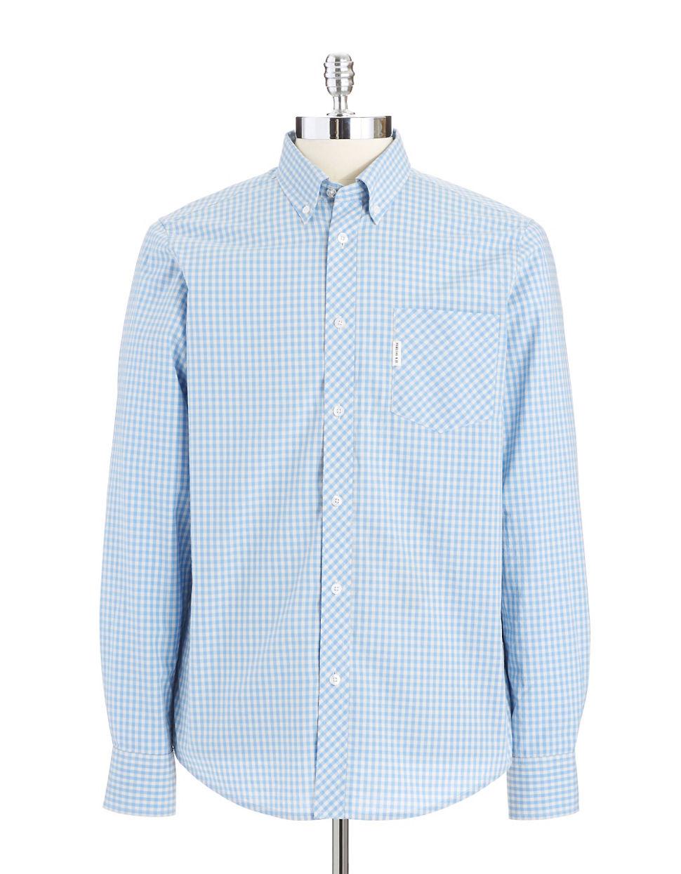 Ben Sherman Gingham Plaid Sportshirt In Blue For Men