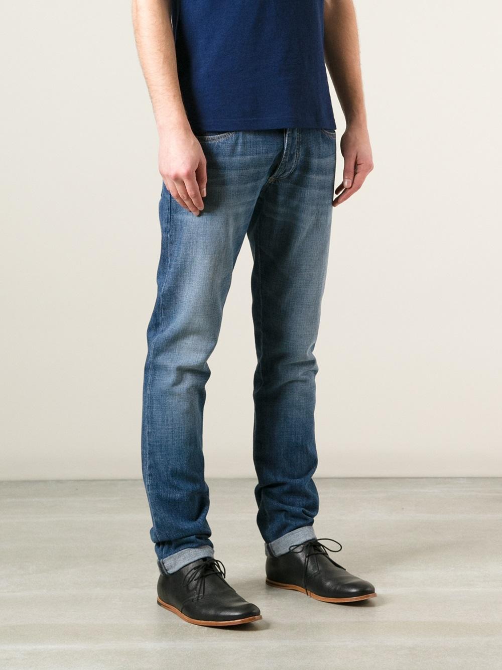 Lyst Brunello Cucinelli Slim Fit Faded Jean In Blue For Men