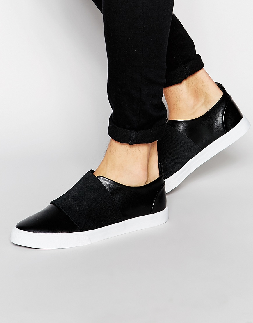 f8b51f891 Lyst - ASOS Slip On Trainers In Black With Elastic Strap in Black