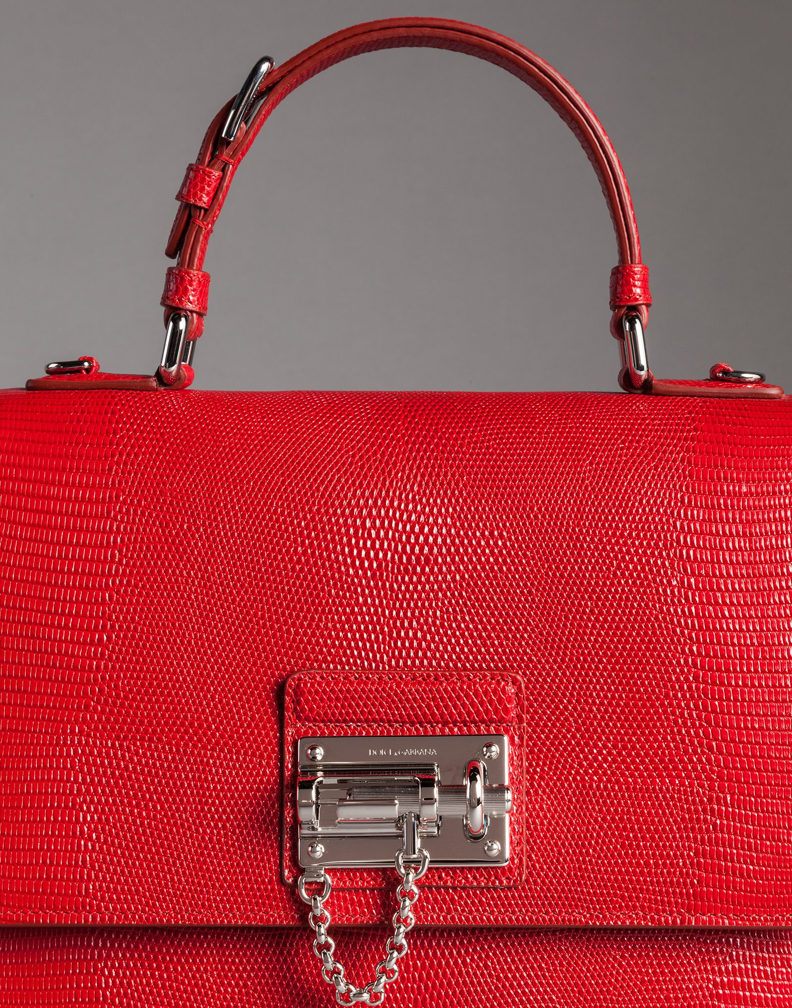 Dolce   Gabbana Iguana Print Leather Monica Bag in Red - Lyst 86af3ba821cfb