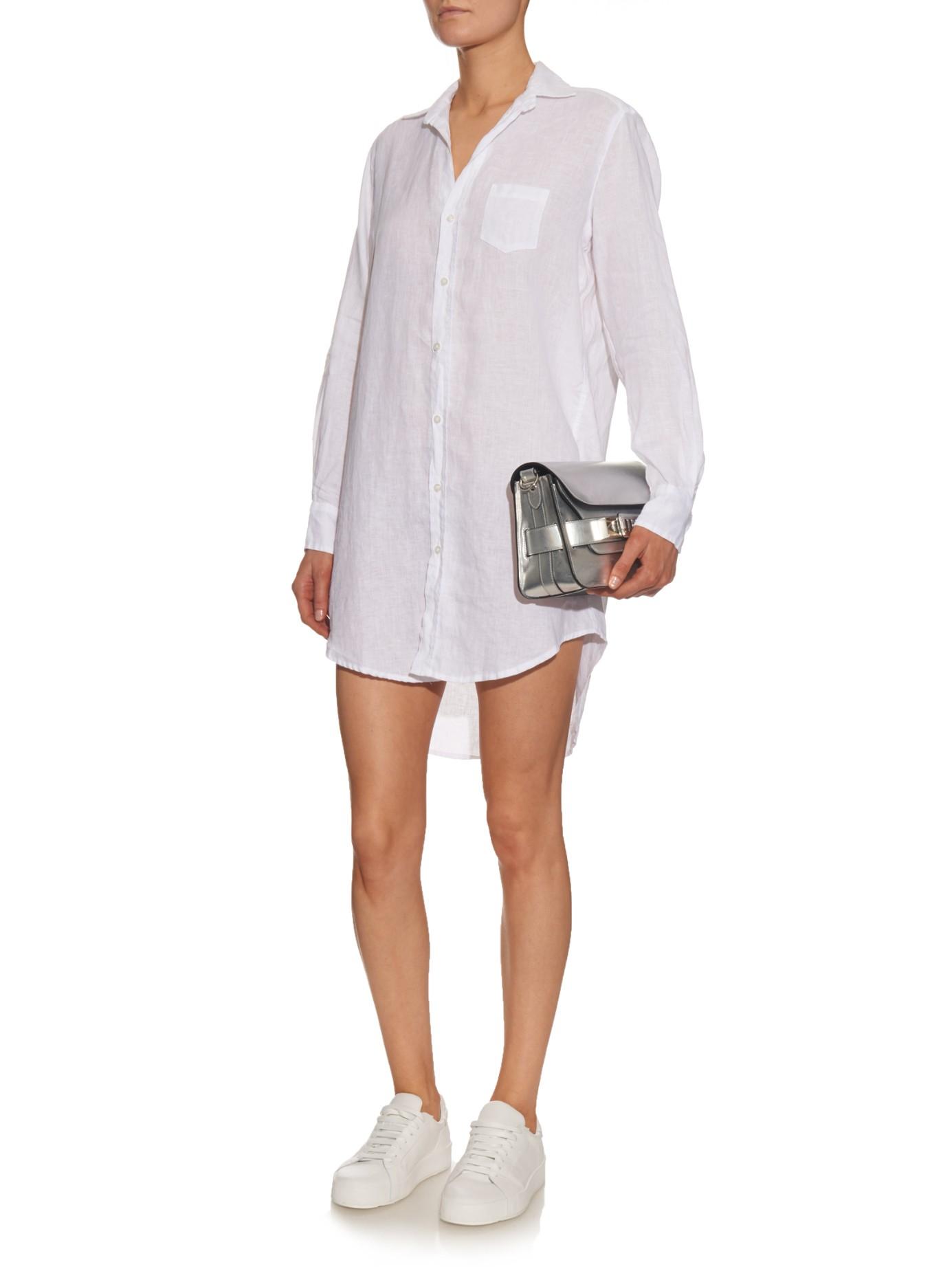 Lyst Frank Eileen Mary Linen Shirt Dress In White