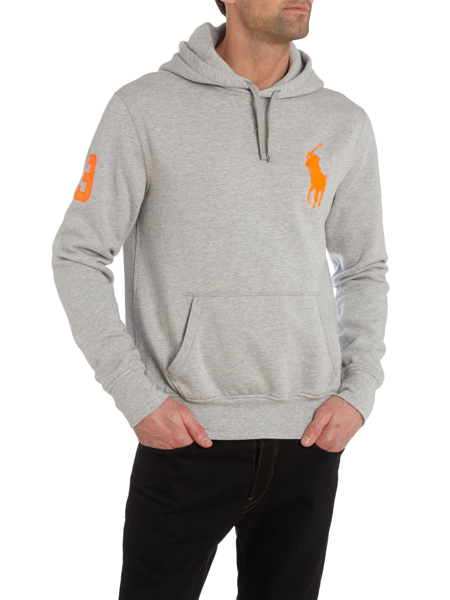 polo ralph lauren big pony player fleece hooded sweatshirt in gray for men lyst. Black Bedroom Furniture Sets. Home Design Ideas